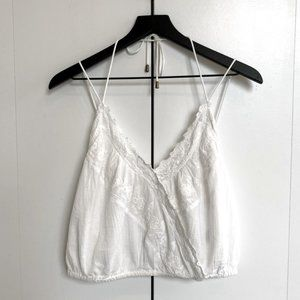 Free People Peasant Crop Halter Cami in White S